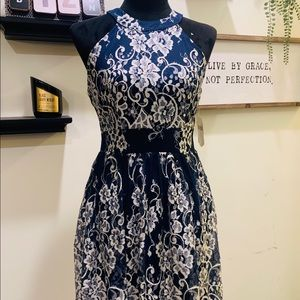 White Lace Navy Blue Open Back Halter Dress